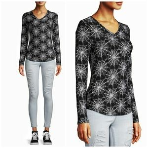 Spooky Spider Cobweb V Neck Sueded Knit Top XL